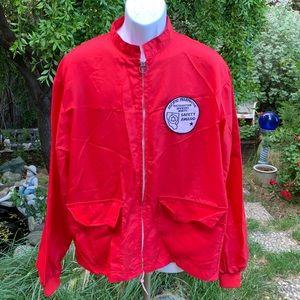 Vtg Rare Pacific Telephone Red Nylon Jacket Sz XL